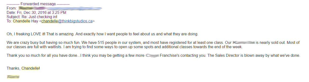 Testimonial email from Fitness Studio for Facebook marketing campaign